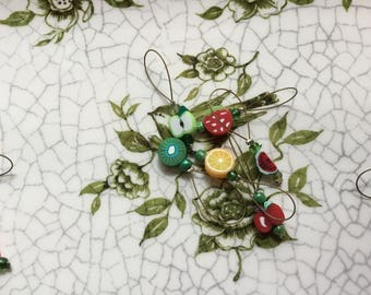 Sliced Fruit Stitch Markers 6 pieces