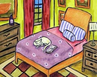 20 % off storewide White Cat Sleeping Art Tile Coaster gift art tile JSCHMETZ american MOCERN folk pop art