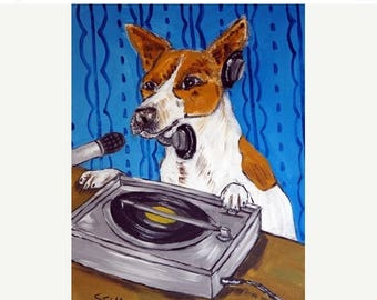 20% off Jack Russell Terrier Dj Dog Art Print  JSCHMETZ MODERN abstract folk pop art AMERICANA