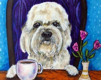 20% off Dandie Dinmont at the Coffee Shop Dog Art Tile
