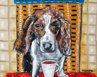 Basset Hound Dog Art Print Kaffee 11 x 14 JSCHMETZ abstrakte amerikanische moderne POP folk abstrakte
