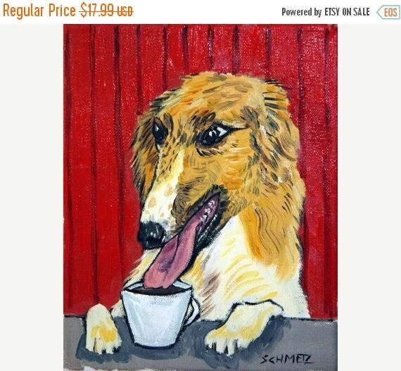 20% off storewide Borzoi at the Coffee Shop Dog Art Print