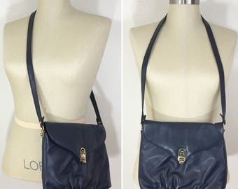 80s Etienne Aigner Navy Leather Crossbody Shoulder Bag Purse, Medium Size