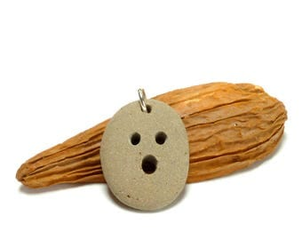 Genuine Drilled Beach Stone BOO Focal Jewelry Bead Pebble Pendant Cocoa Brown Stone Carved Rock Halloween Necklace Dangle