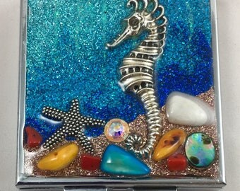 Unique Handcrafted Medicine/ Pill box / One of a Kind/ Glitter/ Gift/ Silver
