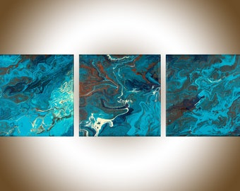 Set of three Colourful Abstract original artwork painting on canvas acrylic Painting fluid art red blue turquoise wall decor by qiqigallery