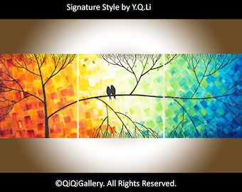 """Sale-Colourful art 36"""" love birds art canvas art wall decor gift for couple anniversary gift  wedding gift """"Love and Romance"""" by qiqigallery"""