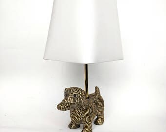 Dog lamp small lamp with shade dog art dog love lamp