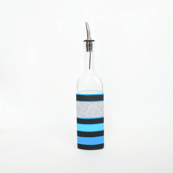 Striped Painted bottle with spout olive oil bottle