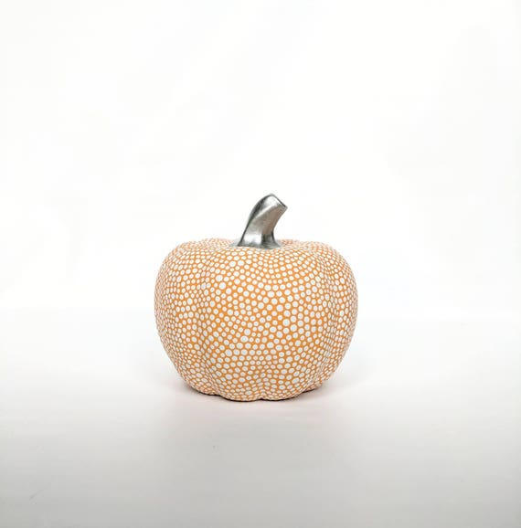 Pumpkin Hand painted orange and White ceramic pumpkin orange Pumpkin
