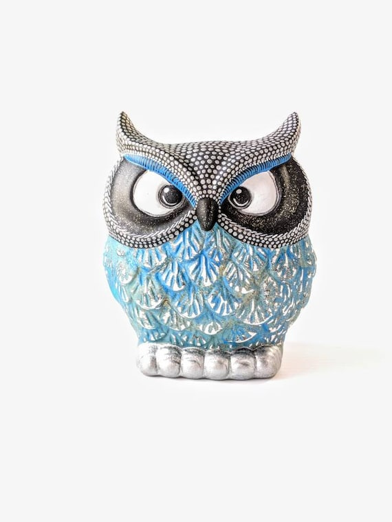 OWL Blues and silver Hand painted Owl coin Bank Piggy Bank Owly owl bank Can be Personalized
