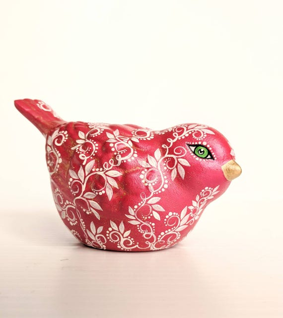 Hand painted Red Bird ceramic figurine red bird ready to ship