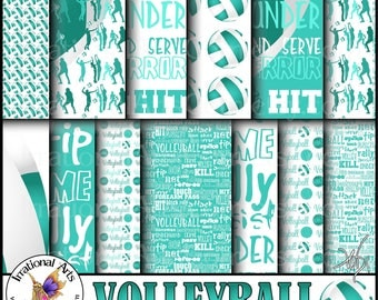 Volleyball Aqua Teal and White Digital Paper - 13 jpg files of volleyball and volleyball word patterns player silhouettes {Instant Download}
