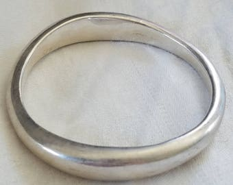 Wavy sterling silver vintage hand made bangle