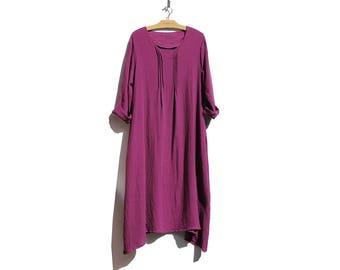 Vintage Claret Pink Cotton Gauge Minimalist Oversized Maxi Dress