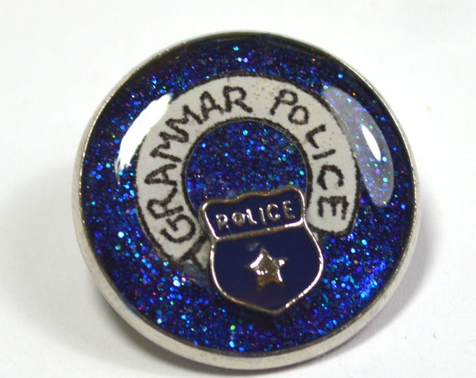 Grammar Police Geek Resin Lapel Pin