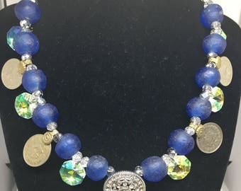 Blue crystal Kuchi coin necklace