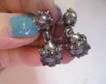 Hencho en Mexico Cuernavaca 925 RD Etruscan Style Screw Back Earrings
