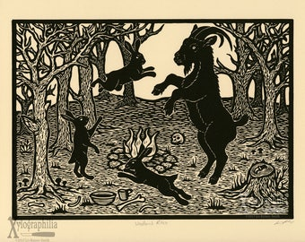 Woodland Rites 1st Edition woodcut print