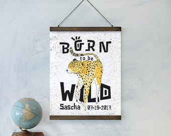 Personalized Wild Cheetah Large Art Print Wall Hanging with Schoolhouse Solid Oak Wooden Bars-nursery decor collection, kids gift, wall art