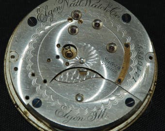 Gorgeous Vintage Antique Elgin Pocket Watch Movement Steampunk Altered Art SM 84