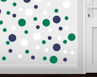 WEEKEND SALE Set of 60 - Navy Blue / Green / White Circles Vinyl Wall Graphic Decals Stickers shapes polka dots round