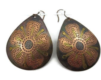 Boho Flower Earrings - Copper Large Unique Jewelry Pierced Hooks