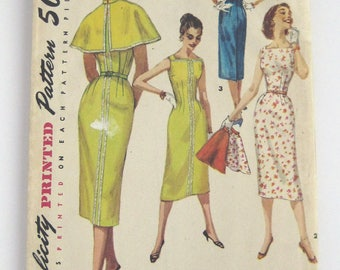 1950s Simplicity pattern 1644  one piece dress and cape size 16 bust 34