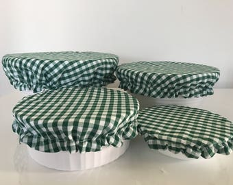 Green White Gingham Reusable Eco-Friendly Fabric Picnic Food Bowl Covers Lids (Set of 4)
