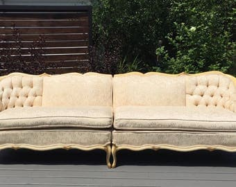 "102"" FRENCH PROVINCIAL vintage sectional sofa"