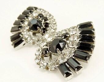 Vintage Rhinestone Clip Earrings Black & Crystal Rhinestones Statement Jewelry