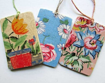 Set of 3 Vintage Wallpaper Image Gift Tags, Scrapbook Tags, Hang Tags,  Collage on Wood Tags,  Flower Images, Botanical, Event Gift Tags