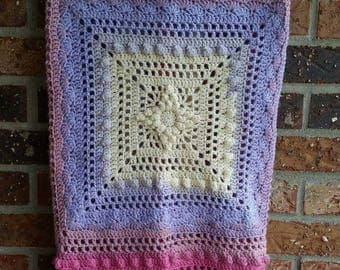 Lacy Flower Blanket, Baby Blanket, Crochet Blanket, Textured, Baby Shower Gift, Photo Prop