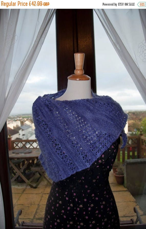 Christmas In July Handknitted Shawl/Wrap in Shades of Purple