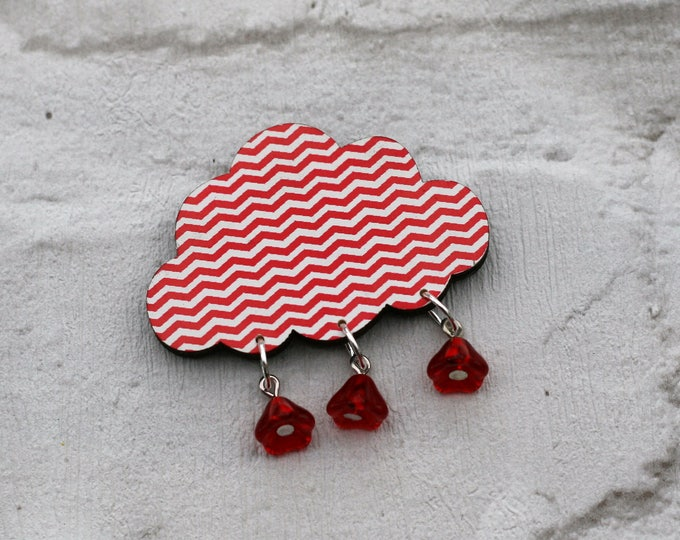 Rain Cloud Brooch, Wooden Weather Brooch, Cloud Badge, Wood Jewelry