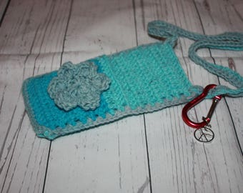 Crochet purse, cross body bag, smart phone purse, cell phone holder, gift for women, gifts under 15, tote bag, crossbody purse, cross body