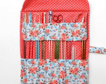 Needle Keeper, Knitting Needle Roll Up, Floral Crochet Hook Organizer, Storage for DPN, Double Pointed Needle Holder, Fabric Paintbrush Case
