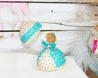 Vintage safety pin beaded southern belle doll aqua
