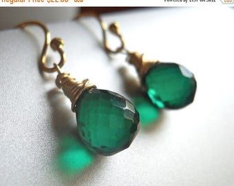 QUICKIE SALE 15% OFF, Deep Emerald Teenie Earrings, Sterling or gold filled, ball or lever back earring, Green quartz, Emerald Quartz