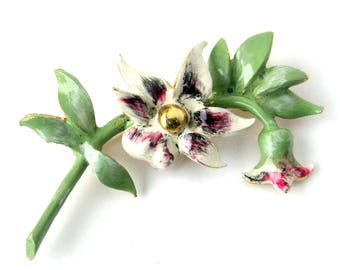 Roger Van S Signed Vintage Flower Brooch / Floral Jewelry / Vintage Brooch / Costume Jewelry / Rare Collectible Jewelry / PInk White Green
