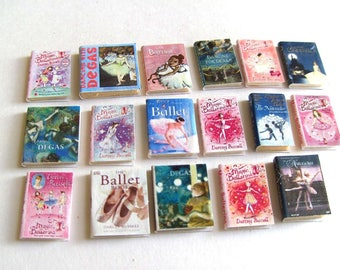 Darcey Bussell Miniatures Ballet Books x 17 - OOAK - 1/12th Scale Dollhouse Miniature Ballerina Books