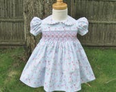 Smocked baby girl dress, size 12Mo, Butterflies, Pink roses, Ready to ship, Blue baby dress, Baby gift, Heirloom, Classic, Toddler dress