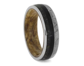 Unique Wooden Wedding Band In Titanium, Seymchan Meteorite And Crushed Dinosaur Bone Ring, Black Ash Burl And Ebony Wood Band