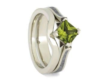 Peridot Bridal Ring Set, Meteorite Engagement Ring With Gemstone, 10k White Gold Women's Ring