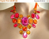 ON SALE Bright Orange and Pink Floating Rhinestone Necklace, Colorful Illusion Necklace, Tropical Rhinestone Statement Necklace, Orange Neck