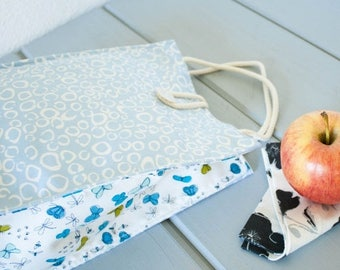 ON SALE Insulated Organic Cotton Lunch Bag -- Blue Morning Dew with Butterflies -- PLASTIC Free!