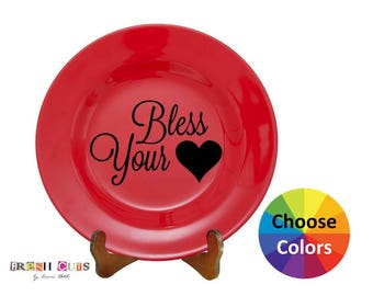 Vinyl Decal Home Decor Bless Your Heart Quote Quotation Charger Plate DIY Gift Choose From 25 Colors