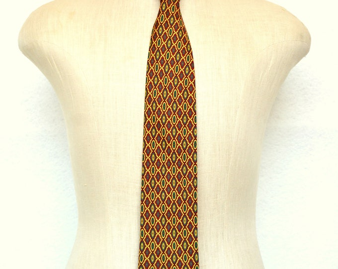BALENCIAGA Pour Homme PARIS Silk Vintage Tie. Hand Made in Paris 100% Silk NECKTIE 1980s.