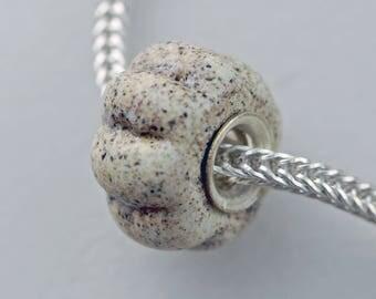 Unique Chubby Textured Beach Sand Sea Glass (Matte) Bead -  Artisan Glass Bracelet Bead - (DEC-63)