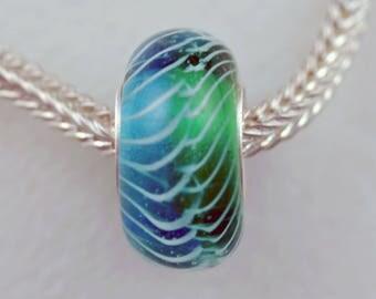 Unique Sea Grass Bead -  Artisan Lampworked Glass Bracelet Bead - (DEC-88)